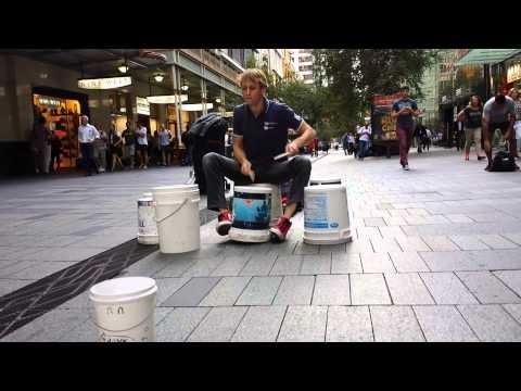 Amazing bucket drummer - people dancing on his beats on street