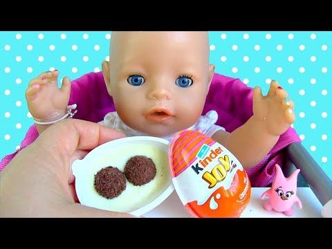 Кукла Беби Бон Кушает Макароны Брокколи Открывает Киндер Сюрприз Яйцо Мультик Для детей