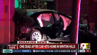 PD: 1 dead after car crashes into Winton Hills home, car seat saved infant's life