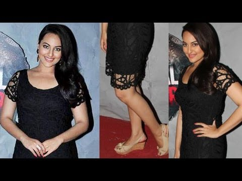 Sonakshi Sinha Exhibiting her Bold Legs in Laced Dress