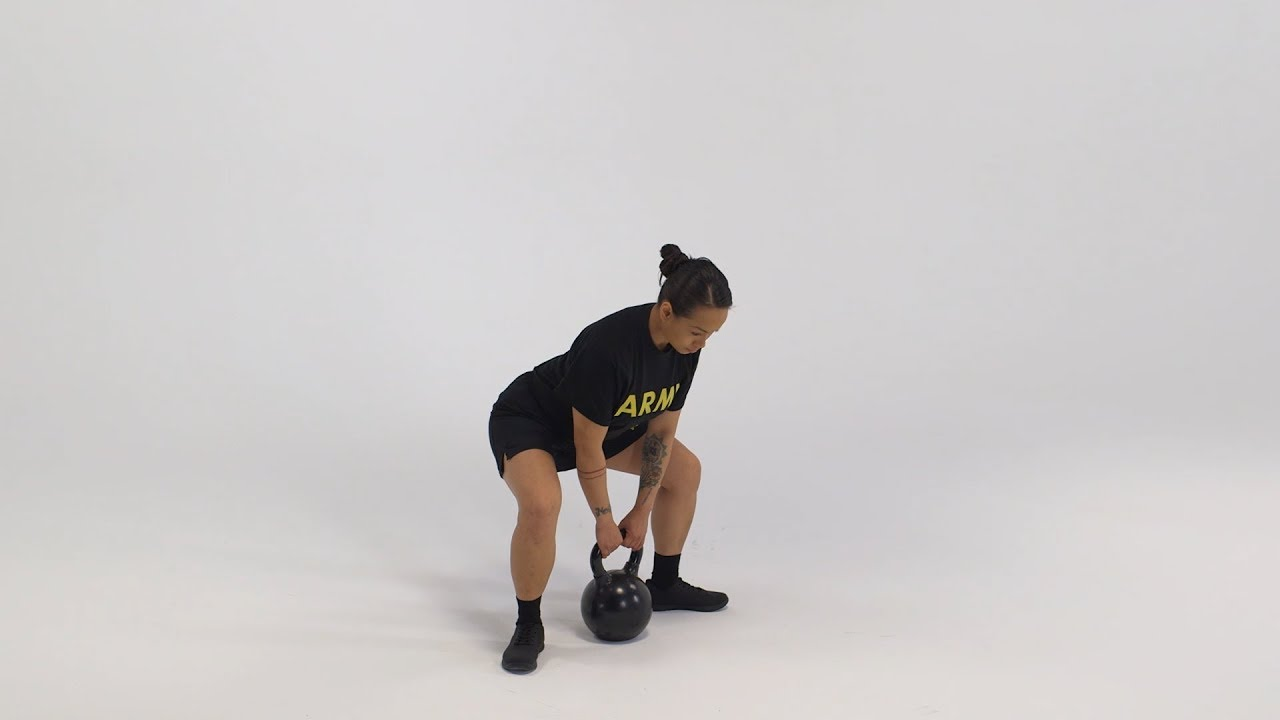 The sumo dead lift is a free weight exercise performed throughout the Soldier's career to improve lower body muscular strength and endurance. It is a modification of  the deadlift that further challenges a Soldier's coordination, balance and hip mobility. Here's a breakdown of the exercise as it would be conducted by an individual Soldier using three types of weights: straight bar, kettle bells and dumb bells. #ACFT #ArmyFit