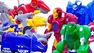 Power Rangers & Marvel Avengers Toys Pretend Play   Superhero Robots Get Stolen