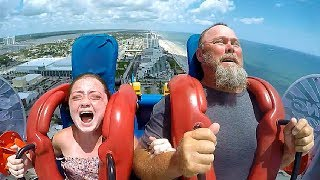 Dads & Daughters | Funny Slingshot Ride Compilation