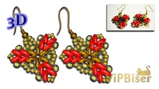 Beaded Earrings with SuperDuo and SeedBeads. 3D Beading Tutorial