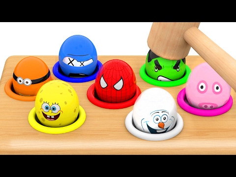 Character Surprise Eggs, Learn Colors with Whac a Mole for Kids Children Toddlers
