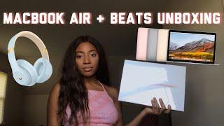 MACBOOK AIR AND BEATS STUDIO3 WIRELESS HEADPHONES UNBOXING | Apple Back To School Bundle 2019