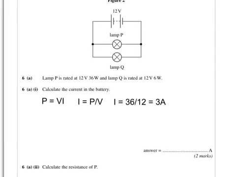 AQA physics A level June 12 paper 1 Q6. Lamps in series and parallel