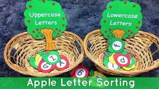 Apple Uppercase and Lowercase Letter Sorting - Preschool and Kindergarten Learning Center
