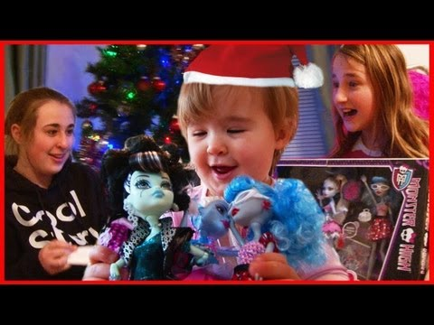 Kids Opening Christmas Presents - Monster High and iPad Surprise - Baby Fun Day 2012