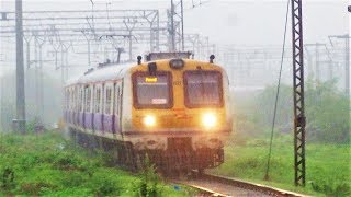 Majestic Arrival of a Mumbai Local Train in Very Heavy Rains in Navi Mumbai!!!