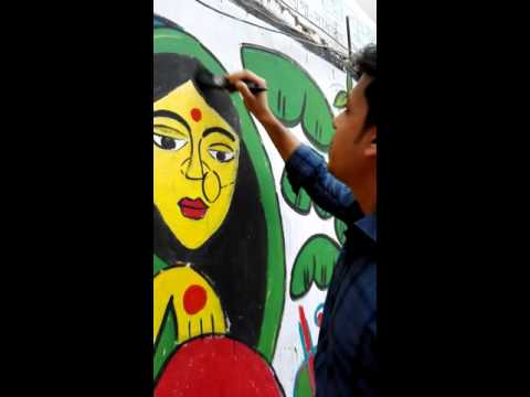 Painting in the wall of Jagannath University, Dhaka.