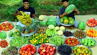FRUIT SALAD | Healthy Fruits Mixed Salad Recipe | Fruits Cutting Skill Village Food