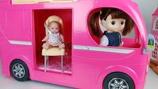 Pink Camping BUS and Baby doll toys picnic car play 핑크 캠핑 버스와 아기인형 피크닉 자동차 장난감놀이 - 토이몽