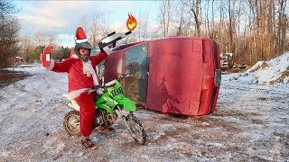 NEW CAR DESTRUCTION!!! + SANTA PIT BIKE RACE BATTLE
