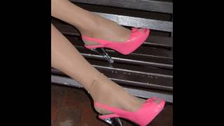 Lily TG - Beige Stockings, Pink High Heels, Lyrca Mini