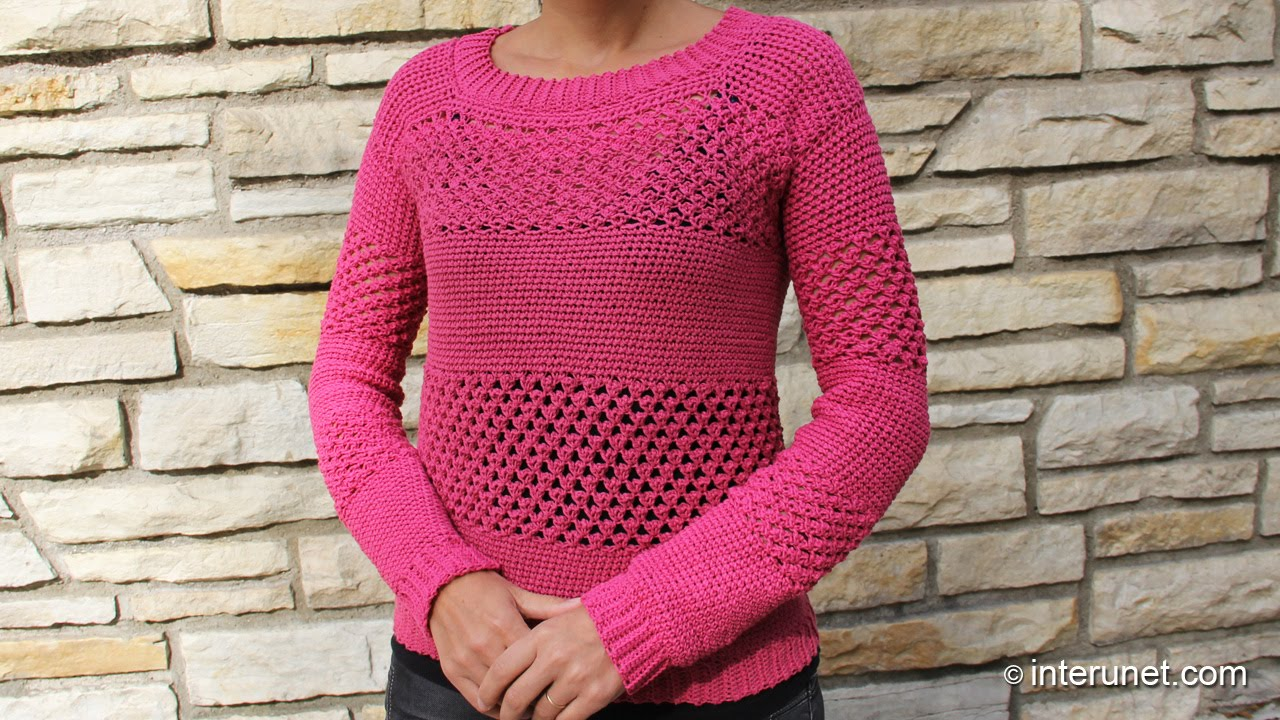 Crocheting A Sweater : How to crochet a sweater - raspberry stich stripes - YouTube