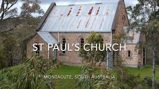 Drone Video Of A Little Church On Top Of A Hill, St Paul's Church, Montacute, South Aust, DJI Spark