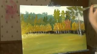 Как нарисовать пейзаж  Осенний лес гуашь ДЕМОверсия
