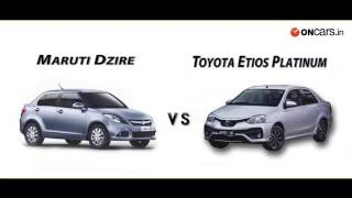 Maruti Suzuki Dzire Vs Toyota Platinum Etios: Comparison Video