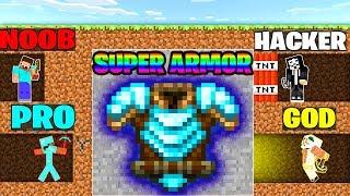 Minecraft Battle: NOOB vs PRO vs HACKER vs GOD : SUPER ARMOR MINING Challenge in Minecraft