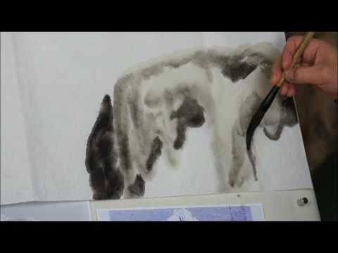 0 How to Paint Icy Landscape in Chinese Painting or Sumi e    Frozen Niagara Falls