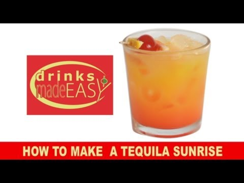 A 30 sceond how to make a tequila sunrise cocktail video for Easy drinks with tequila