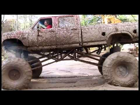 BIG RED FORD MUD TRUCK AT JEFFREYS 2012, FULL COVERAGE, vide