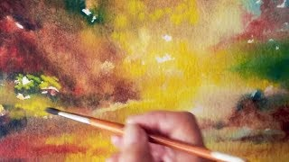 Sunset Watercolor tutorial ~ how to paint step by step