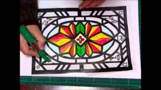 kimie gangiのステンドグラスの作り方(小学校用) 2 (How to make stained glass)