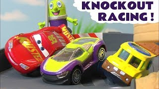 Disney Pixar Cars 3 and Hot Wheels Knockout Racing with Spiderman and Black Panther