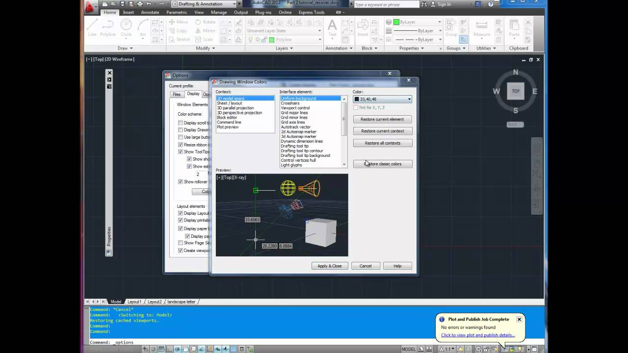 Autocad Tutorial Quick Tip How To Change Background And