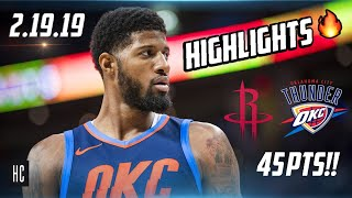 Houston Rockets vs Oklahoma City Thunder   Full Game Highlights 🔥 2.9.19 ᴴᴰ