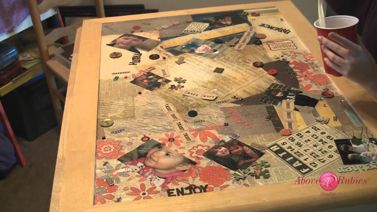 Diy Refinished Table Top With Personalizations And Two