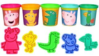 Learn Colors with Peppa Pig Play Doh Molds George Pig Mr. Dinosaur Teddy Polly Parrot Play Doh Fun