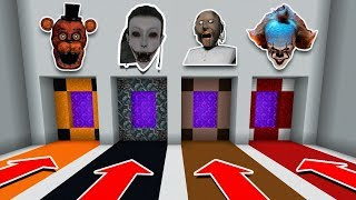 DO NOT CHOOSE THE WRONG PORTAL IN MINECRAFT PE (FNAF, Momo, Granny, Pennywise)