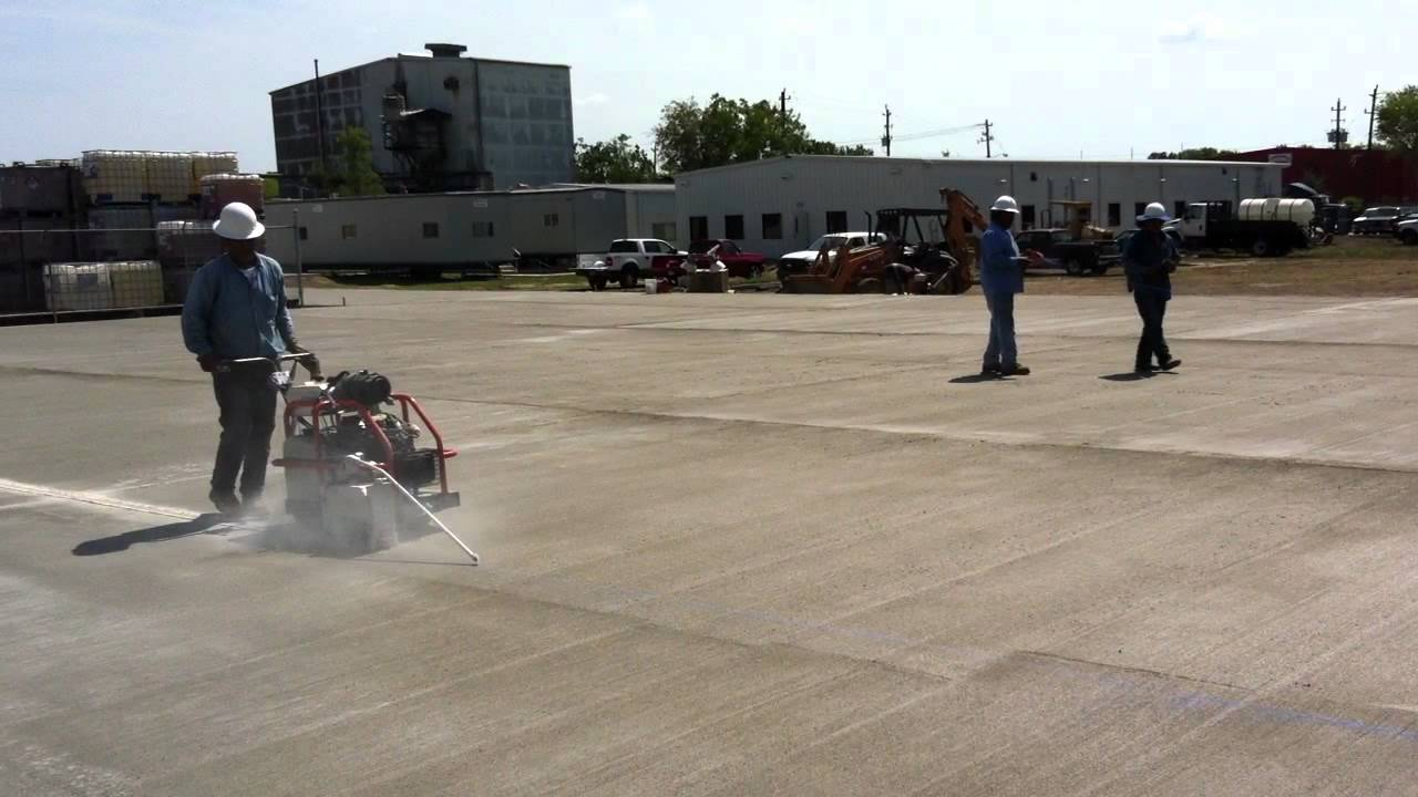 Saw Cutting New Concrete Expansion Joints In Houston Texas