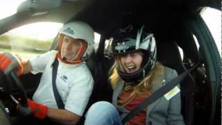 (Censored) - Girl screems on amazing fast lap in Subaru Cosworth