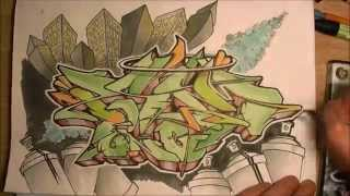 "Wildstyle graffiti speed drawing commenté // Graff sur papier promarker (""PSYM one"") [HD 1080]"