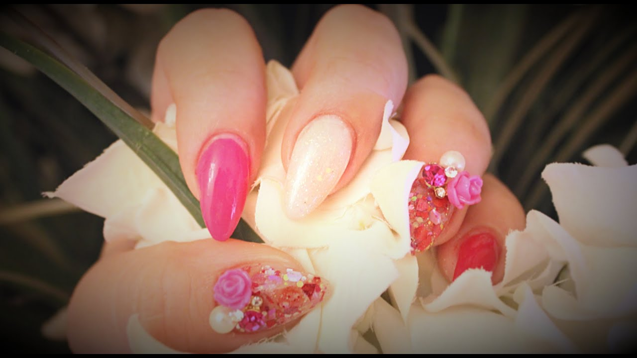 Acrylic Nails: Romantic Nails ( Almonds-shaped ) - YouTube