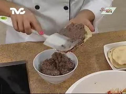 Receta para preparar Tostadas de Frijol con Pollo