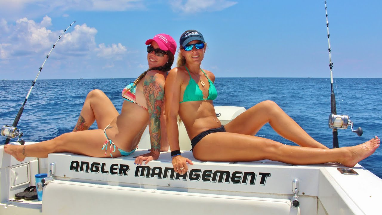 Two Girls Offshore Florida Fishing and Catching Kingfish ...