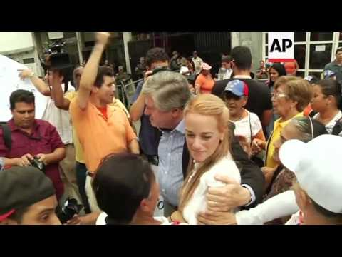 Family and supporters of the Venezuelan jailed opposition leader Leopoldo Lopez gathered on Wednesda