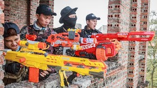 LTT Nerf War : SEAL X Warriors Nerf Guns Fight Criminal Group Dr Lee Police Patrol Motorbike