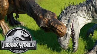 REX DESTROYS INDOMINUS! All Jurassic World Movie Battles! - Jurassic World Evolution Gameplay