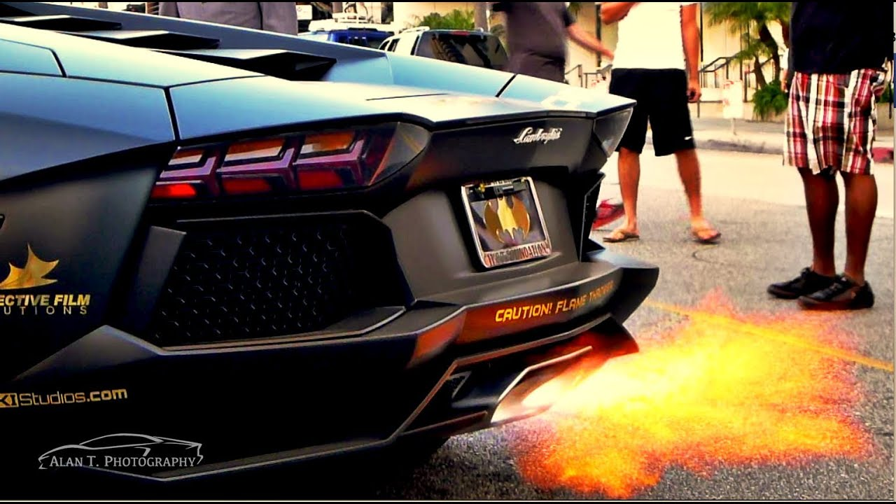Lamborghini Aventador Shooting Flames Huge Revs And Loud