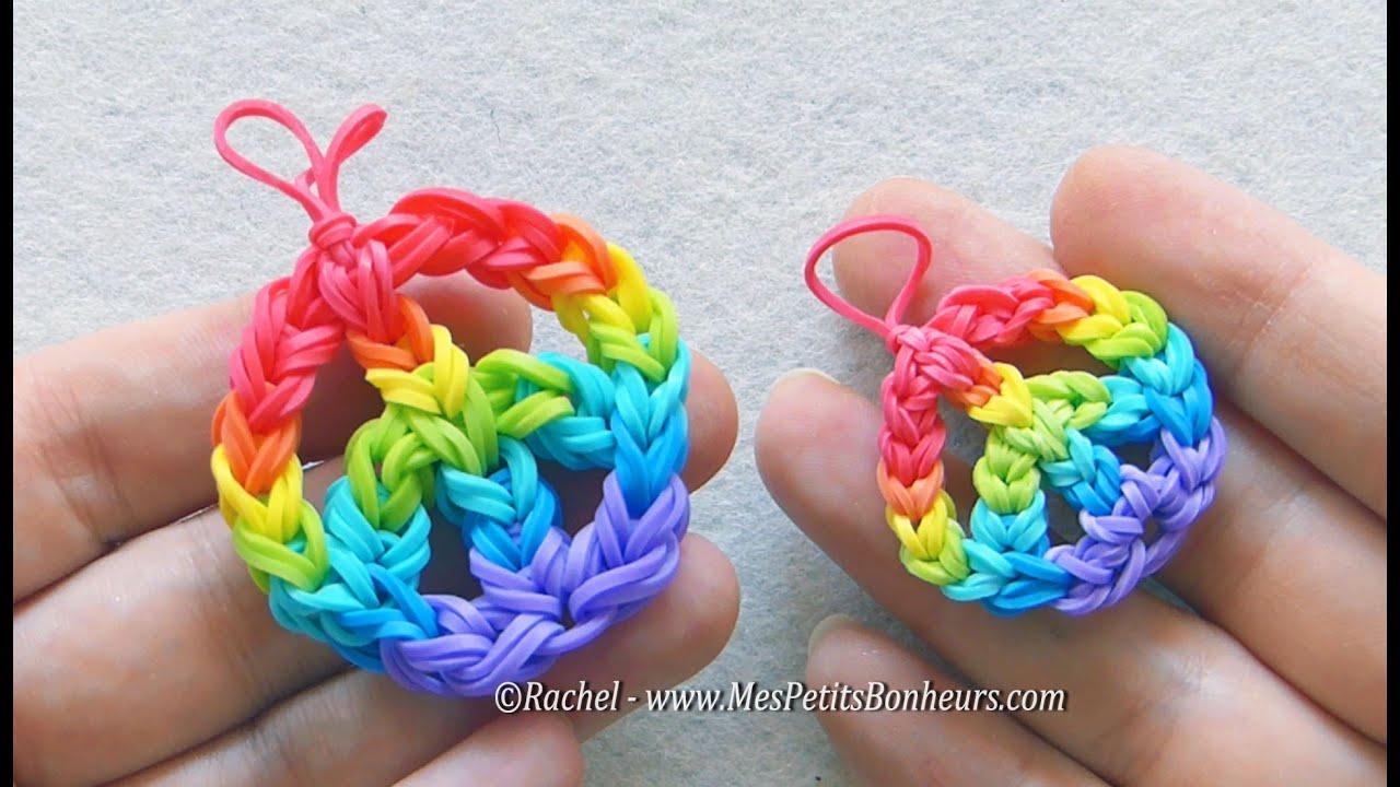 Peace and love rainbow loom mini ou maxi tutoriel des - Fabriquer porte bracelet ...