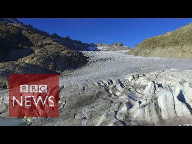 Drone reveals Rhone Glacier ice retreat - BBC News