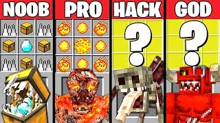 Minecraft Battle: SUPER MONSTER CRAFTING CHALLENGE - NOOB vs PRO vs HACKER vs GOD ~ Animation