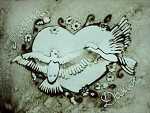 """Нина Высоцкая - Рисунок песком на стекле """"Love Story"""""""