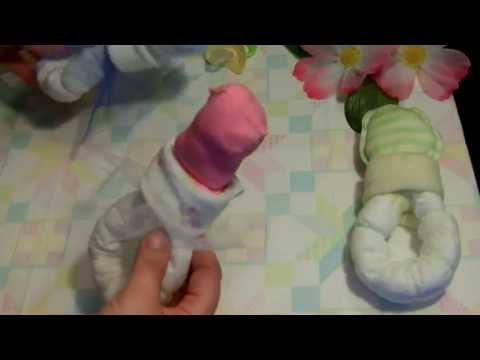 How to make a Pacifier out of diapers for a baby shower